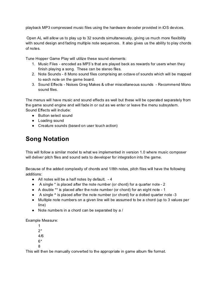 Tune Hopper Design Document - Audio design document