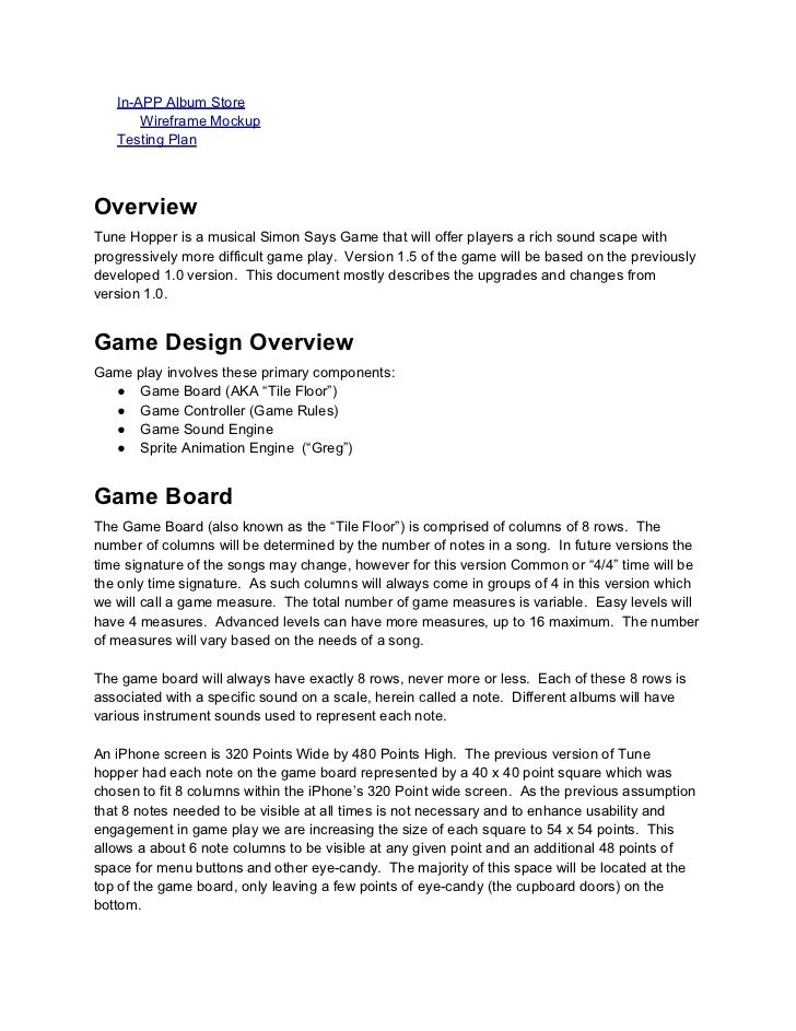 Tune Hopper Design Document - Board game design document