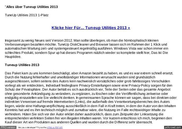"""Alles über Tuneup Utilities 2013  TuneUp Utilities 2013 1-Platz                                                  Klicke h..."