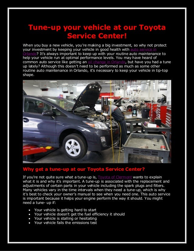 Tune-up your vehicle at our Toyota Service Center! When you buy a new vehicle, you're making a big investment, so why not ...