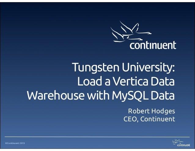 ©Continuent 2013Tungsten University:Load a Vertica DataWarehouse with MySQL DataRobert HodgesCEO, Continuent