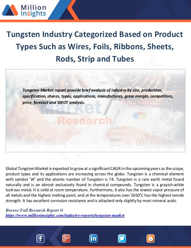 Tungsten industry categorized based on product types such as wires, f…