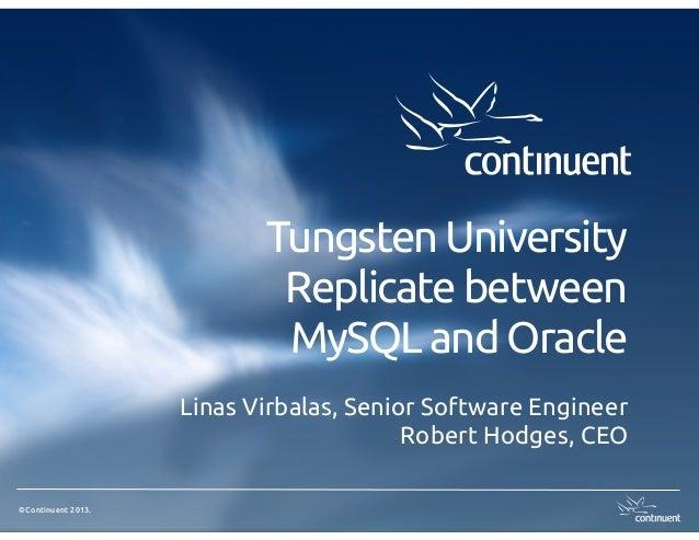 ©Continuent 2013.Tungsten UniversityReplicate betweenMySQL and OracleLinas Virbalas, Senior Software EngineerRobert Hodges...