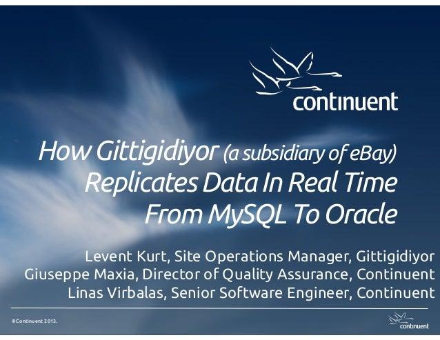 How Gittigidiyor (a subsidiary of eBay) Replicates Data In Real Time From MySQL To Oracle Levent Kurt, Site Operations Man...