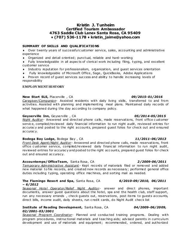 Kristin J. Tunheim Certified Tourism Ambassador 4763 Saddle Club Lane♢  Santa Rosa, ...