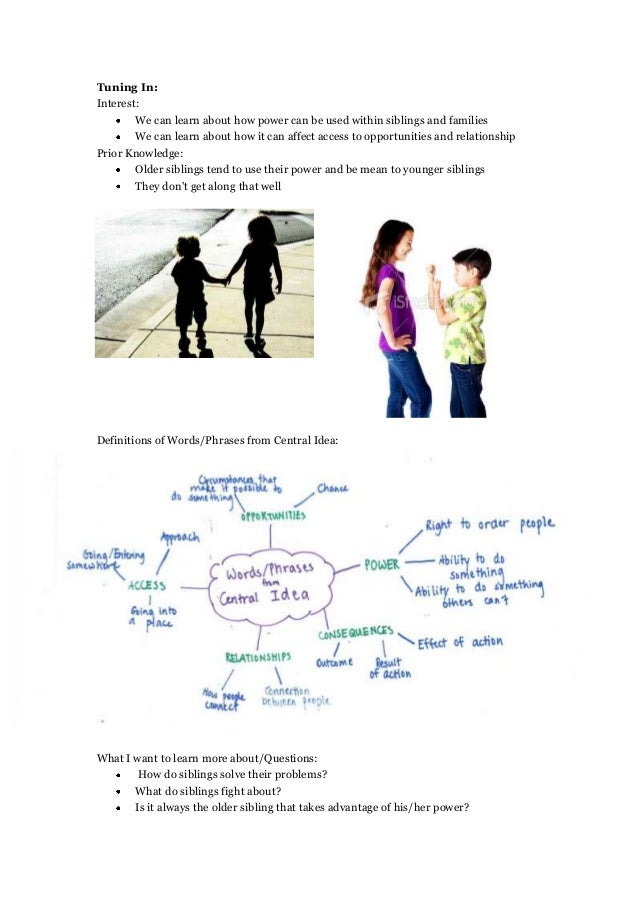 Tuning In:Interest:We can learn about how power can be used within siblings and familiesWe can learn about how it can affe...