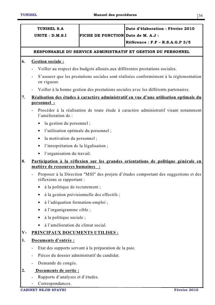 tunisel manuel de procedures 14 avril 2010  2