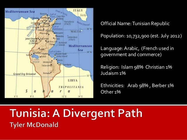 Official Name: Tunisian RepublicPopulation: 10,732,900 (est. July 2012)Language: Arabic, (French used ingovernment and com...