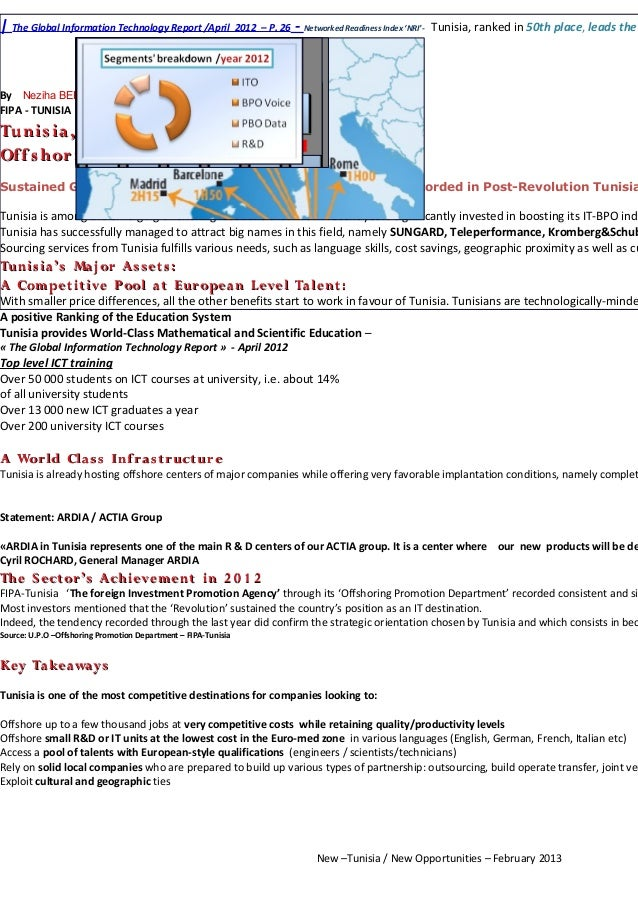 | The Global Information Technology Report /April 2012 – P. 26 - Networked Readiness Index 'NRI'-   Tunisia, ranked in 50t...
