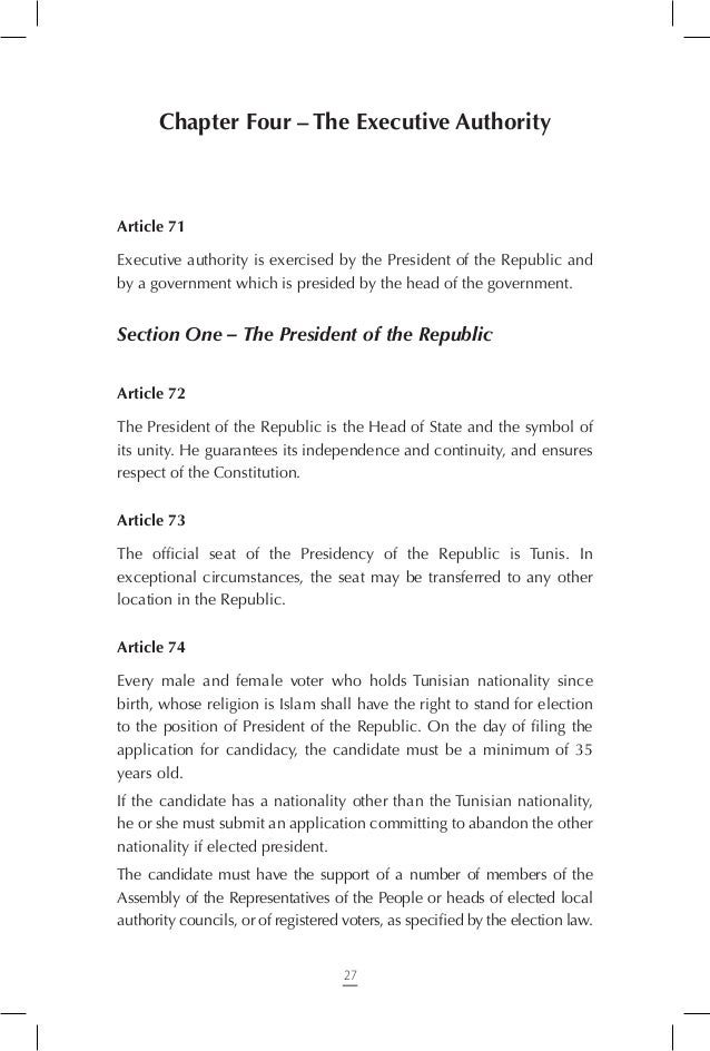 the President of the Republic cannot dissolve the Assembly of the Representatives of the People and a motion of censure ag...