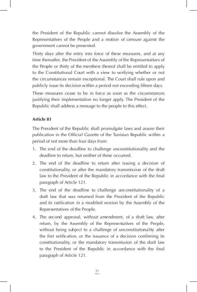 Section Two – The Government Article 89 The government shall be composed of a Head of Government, Ministers, and secretari...