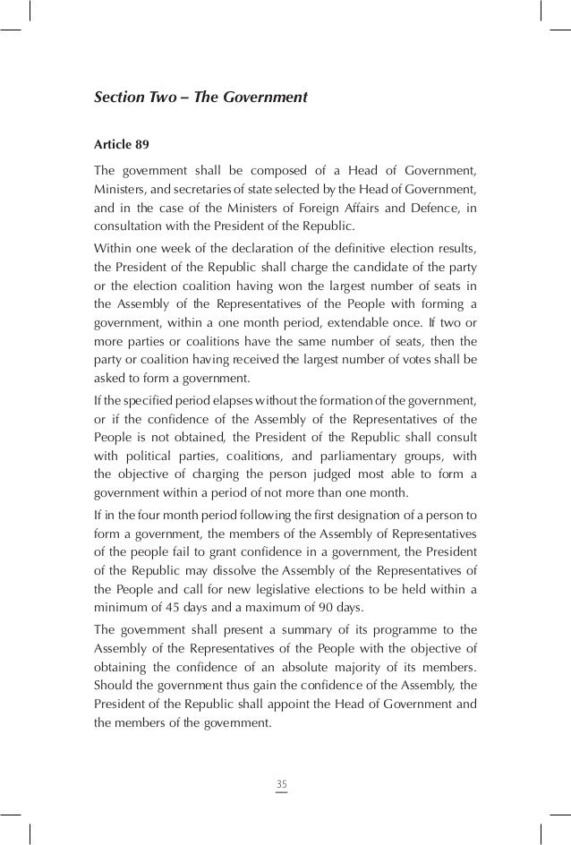 Article 98 The resignation of the Head of Government entails the resignation of the entire government. Resignation shall b...