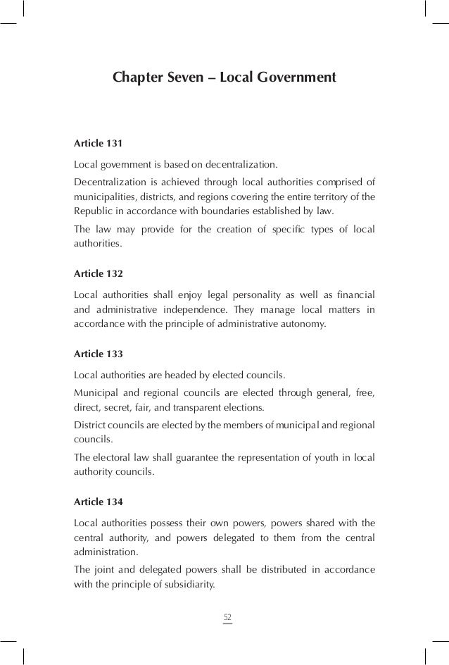 Chapter Nine – Final Provisions  Article 145 This Constitution's preamble is an integral part of the Constitution. Article...