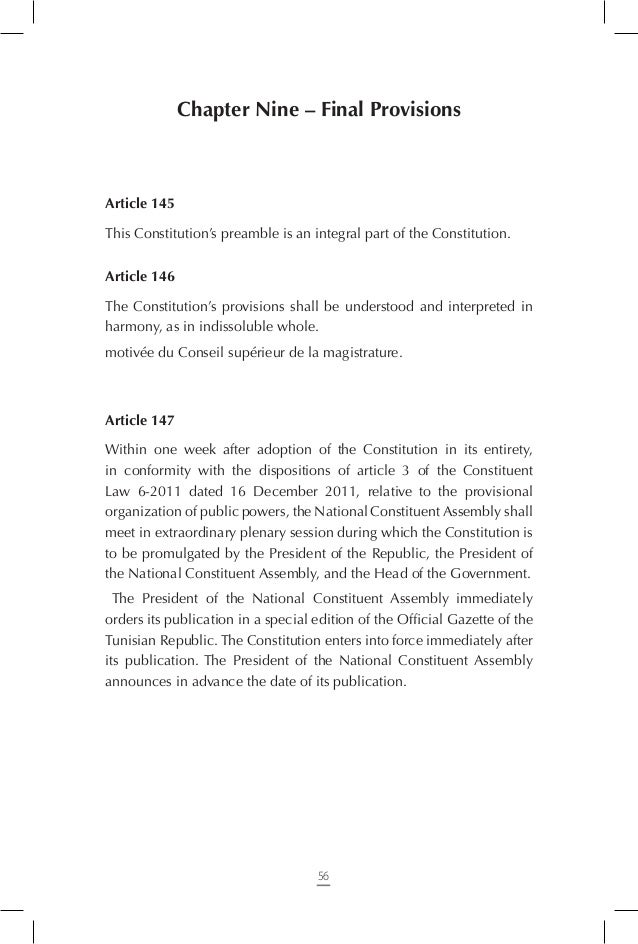 Article 149 The military tribunals continue to exercise the jurisdiction they have been granted by the current laws until ...