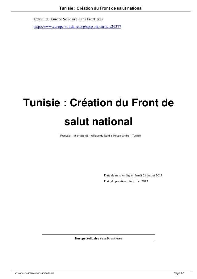 Tunisie : Création du Front de salut national Extrait du Europe Solidaire Sans Frontières http://www.europe-solidaire.org/...