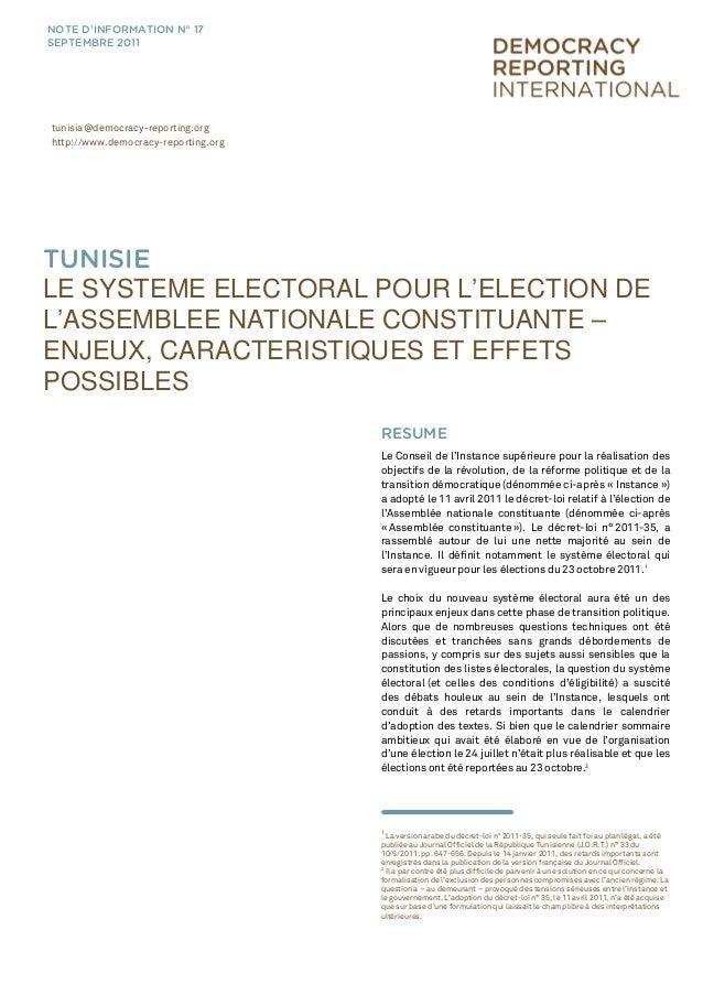 Tunisie Le Systeme Electoral Pour L Election De L Assemblee Nationale