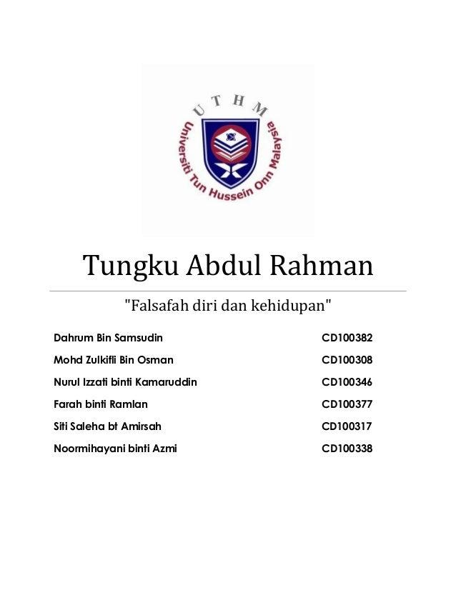 "Tungku Abdul Rahman              ""Falsafah diri dan kehidupan""Dahrum Bin Samsudin                      CD100382Mohd Zulkif..."
