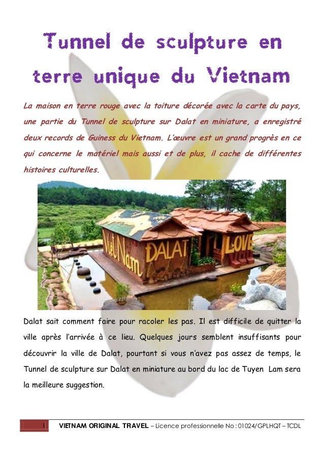 1 VIETNAM ORIGINAL TRAVEL – Licence professionnelle No : 01024/GPLHQT – TCDL Tunnel de sculpture en terre unique du Vietna...