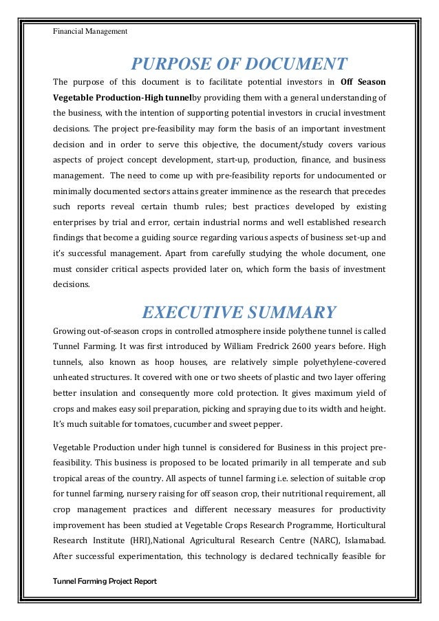 feasibility report of financial management A feasibility study also addresses such important issues as where (and how) the business will operate if done properly, your feasibility will provide in-depth details about all the various components of your business in order to determine if it can succeed.