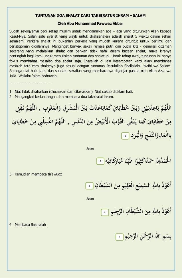 TUNTUNAN DOA SHALAT DARI TAKBIRATUR IHRAM – SALAM Oleh Abu Muhammad Fawwaz Akbar Sudah seyogyanya bagi setiap muslim untuk...