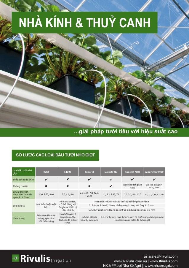 NHÀ KÍNH & THUỶ CANH IrrigationRivulis asiasales@rivulis.com www.Rivulis.com.au | www.Rivulis.com NK & PP bởi Nhà Bè Agri ...