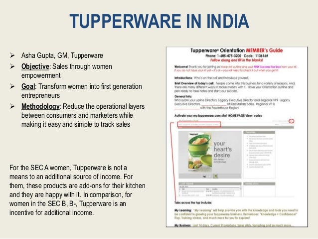 TUPPERWARE IN INDIA  Asha Gupta, GM, Tupperware  Objective: Sales through women empowerment  Goal: Transform women into...