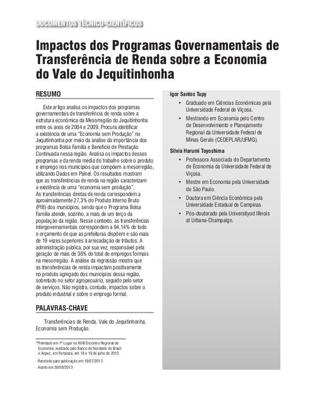 DOCUMENTOS TÉCNICO-CIENTÍFICOS Impactos dos Programas Governamentais de Transferência de Renda sobre a Economia do Vale do...