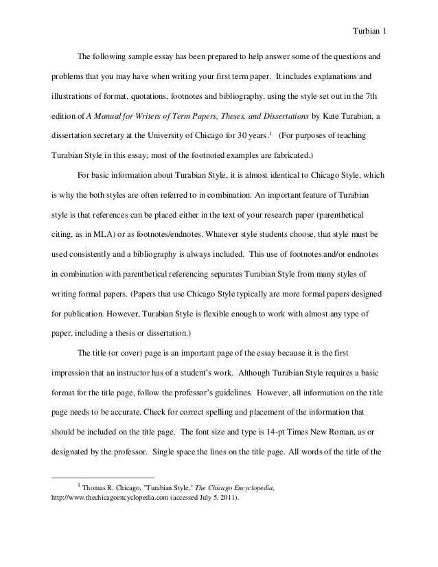 Turabian Example Paper With Footnotes Sample Paper  Austin Peay Stat Turbian  The Following Sample Essay Has Been Prepared To Help Answer Some  Of The Questions