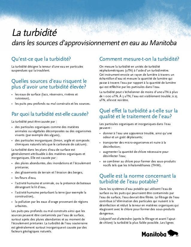 La turbidité  dans les sources d'approvisionnement en eau au Manitoba Qu'est-ce que la turbidité?  Comment mesure-t-on la ...
