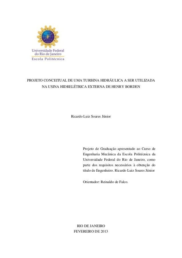 PROJETO CONCEITUAL DE UMA TURBINA HIDRÁULICA A SER UTILIZADA NA USINA HIDRELÉTRICA EXTERNA DE HENRY BORDEN  Ricardo Luiz S...