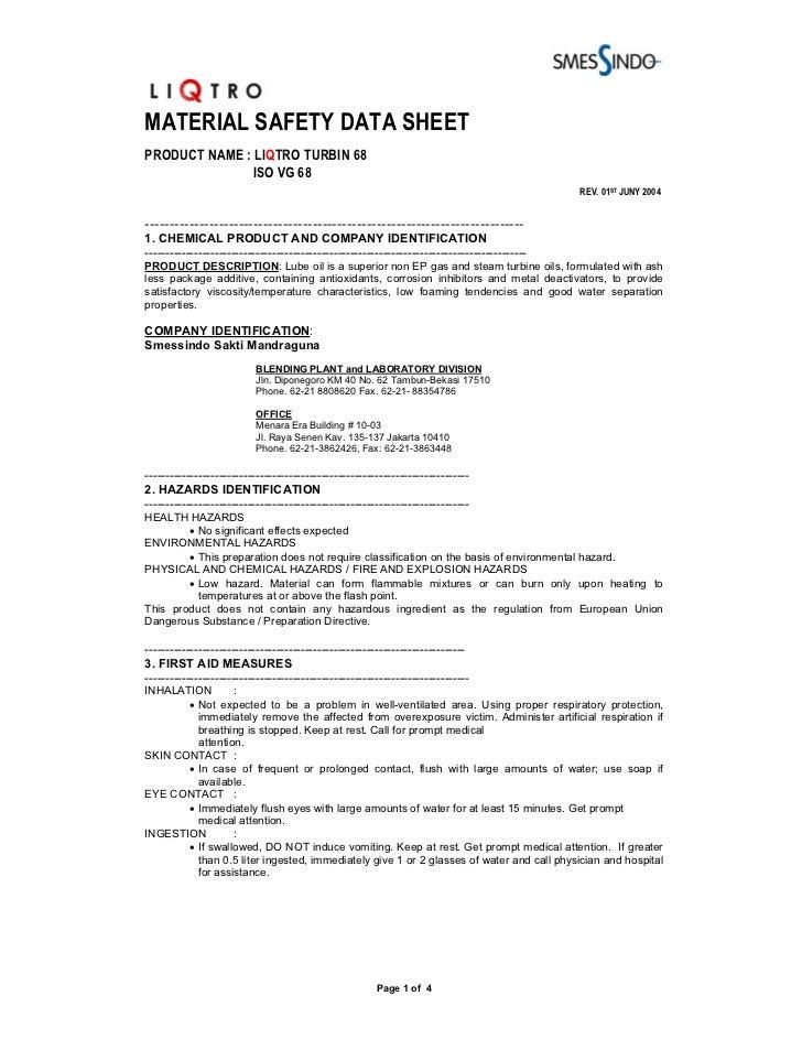 MATERIAL SAFETY DATA SHEETPRODUCT NAME : LIQTRO TURBIN 68              ISO VG 68                                          ...