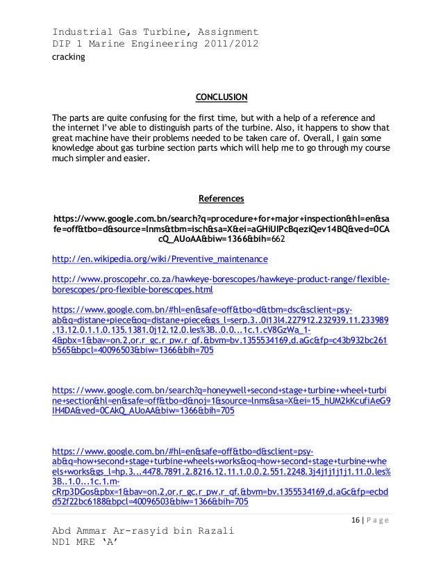 Industrial Gas Turbine, AssignmentDIP 1 Marine Engineering 2011/2012cracking                                     CONCLUSIO...