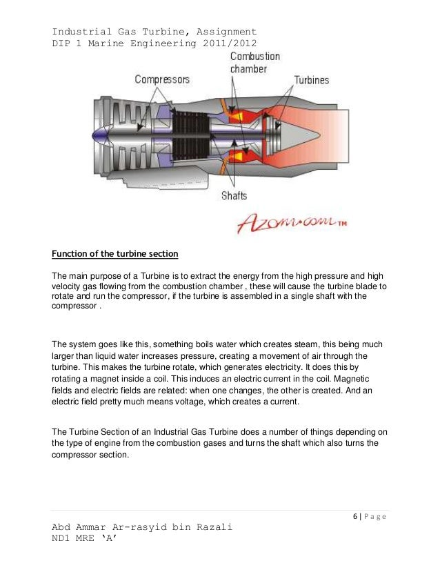 Industrial Gas Turbine, AssignmentDIP 1 Marine Engineering 2011/2012Function of the turbine sectionThe main purpose of a T...