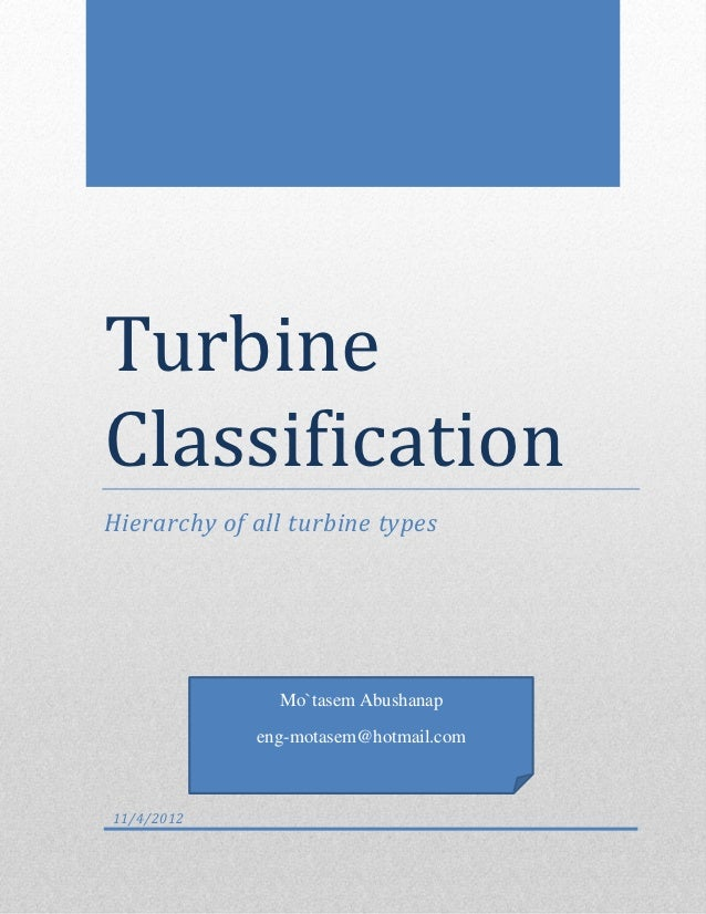 TurbineClassificationHierarchy of all turbine types               Mo`tasem Abushanap             eng-motasem@hotmail.com11...
