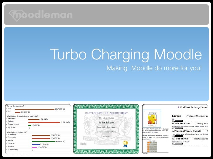 Turbo Charging Moodle        Making Moodle do more for you!