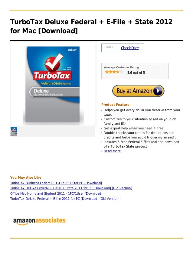 TurboTax Deluxe Federal + E-File + State 2012for Mac [Download]                                                           ...