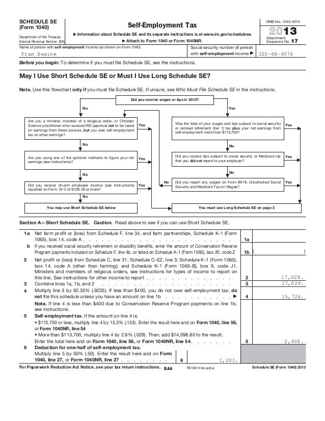 Self Employment Tax Form. Self-Employment Tax Is Reported On Form ...