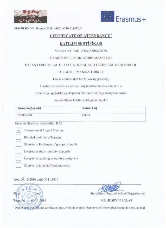Certificate Of Attendance Transnational Meeting In Turkey
