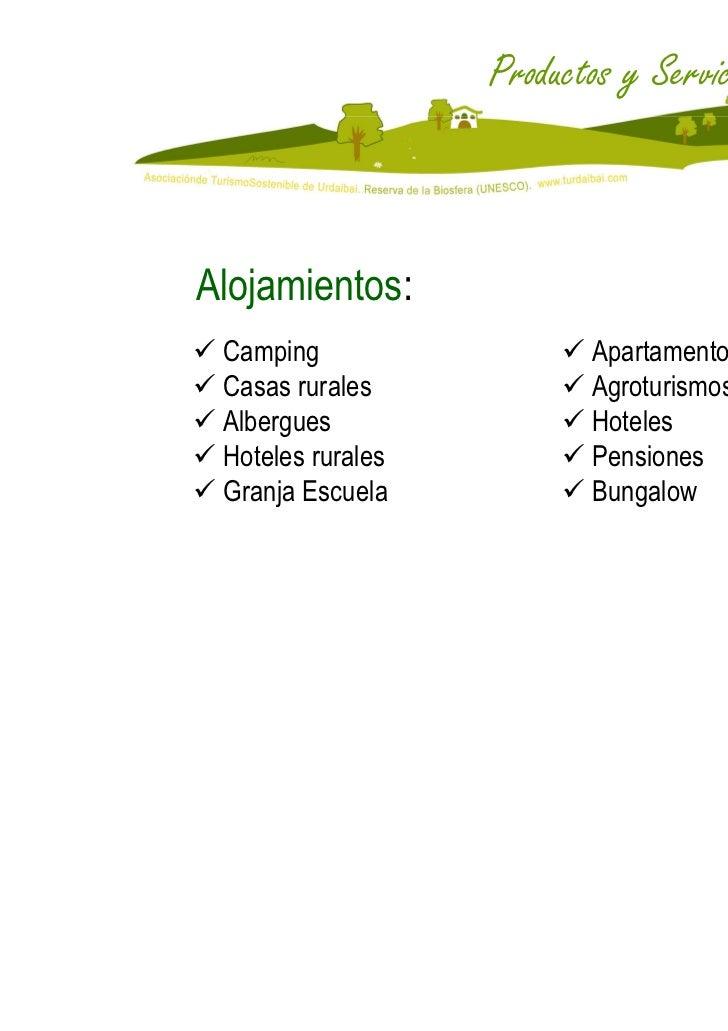 Productos y ServiciosAlojamientos: Camping                  Apartamentos Casas rurales            Agroturismos Albergues  ...