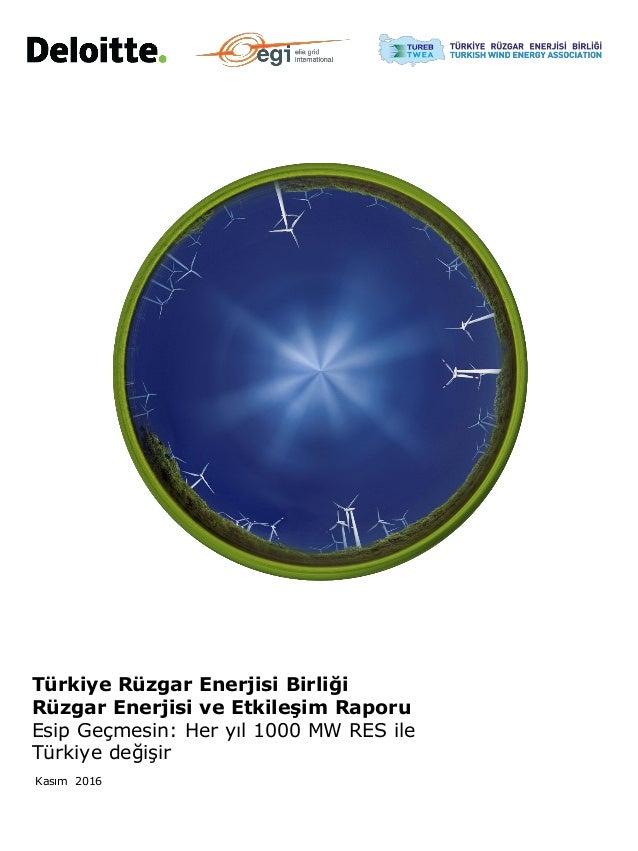 Kasım 2016 Türkiye Rüzgar Enerjisi Birliği Rüzgar Enerjisi ve Etkileşim Raporu Esip Geçmesin: Her yıl 1000 MW RES ile Türk...