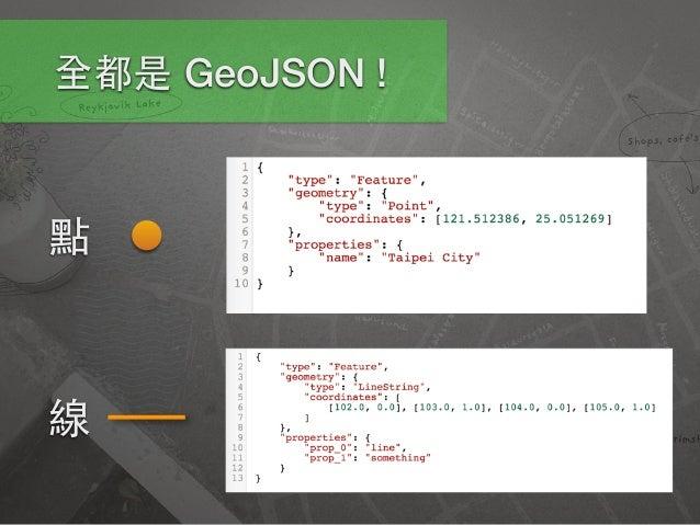 GeoJSON • Turf.js 以 GeoJSON 作為資料處理媒介 • 僅⽀支援 WGS84 格式座標 • 與多種主流電⼦子地圖平台相容 • 要注意經緯座標順序 (lng, lat) • http://geojson.org/