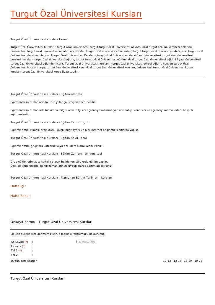 Turgut Özal Üniversitesi KurslarıTurgut Özal Üniversitesi Kursları TanımıTurgut Özal Üniversitesi Kursları : turgut özal ü...