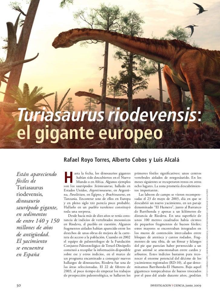 Turiasaurus riodevensis: el gigante europeo                      Rafael Royo Torres, Alberto Cobos y Luis Alcalá          ...