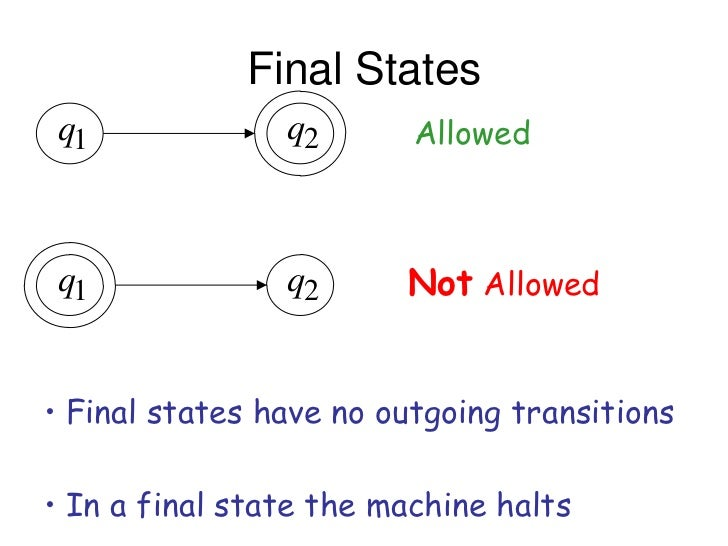 Final States q1             q2       Allowed q1             q2      Not Allowed• Final states have no outgoing transitions...