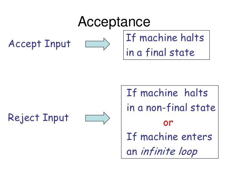 Acceptance                     If machine haltsAccept Input                     in a final state                     If ma...