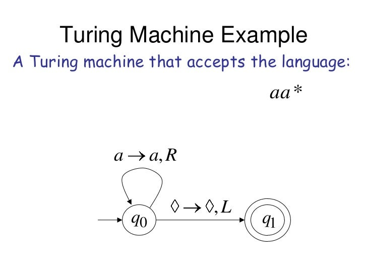 Turing Machine ExampleA Turing machine that accepts the language:                                  aa *            a      ...