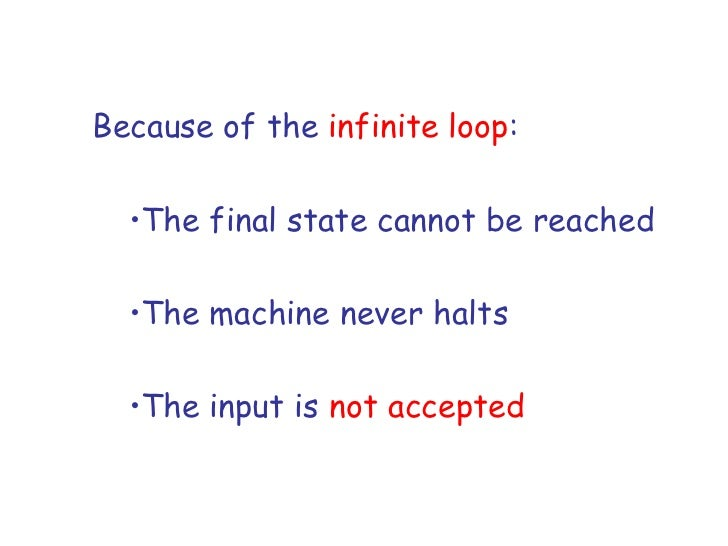 Because of the infinite loop:  •The final state cannot be reached  •The machine never halts  •The input is not accepted