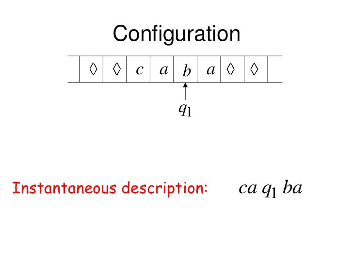 Configuration                c a b a                      q1Instantaneous description:   ca q1 ba
