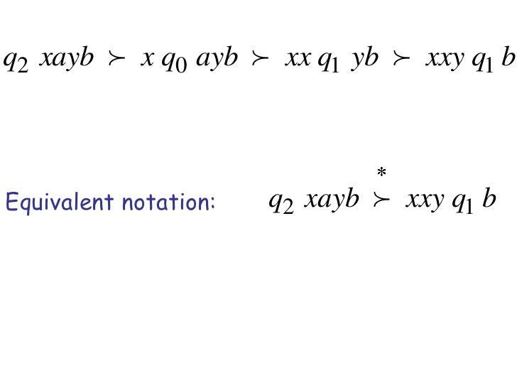 q2 xayb  x q0 ayb  xx q1 yb  xxy q1 bEquivalent notation:   q2 xayb  xxy q1 b