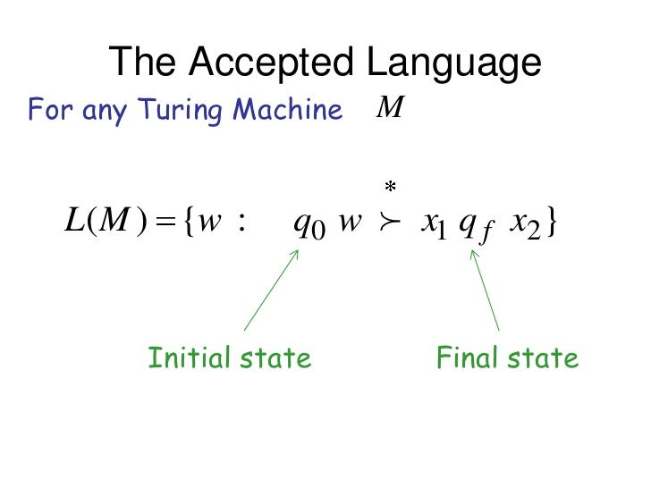The Accepted LanguageFor any Turing Machine   M  L( M ) {w :      q0 w  x1 q f x2 }        Initial state        Final state